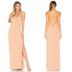 NWT NBD In The Deep Nude Gold Maxi Dress Open Back